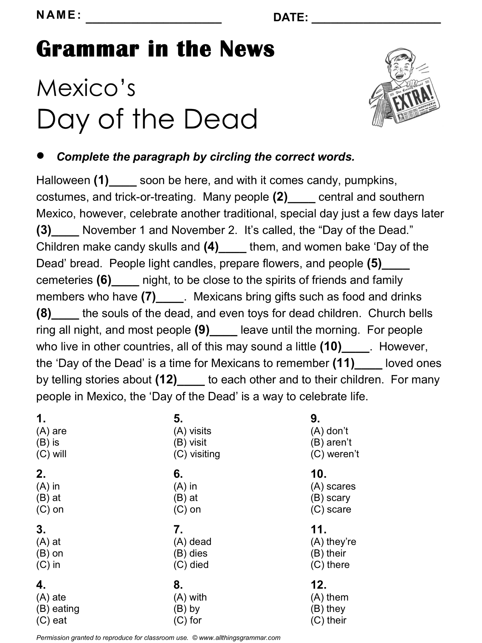 English Grammar In The News Mexico S Day Of The Dead