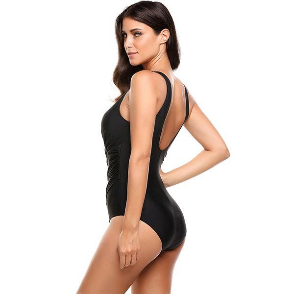 027686965b0 Only $44.82 - Awesome Ekouaer Sexy Women Oblique Cross One-Piece Bikini  Front Pleated Solid Swimwear V Neck Slim Bathing Suit Swimsuit - Buy it Now!