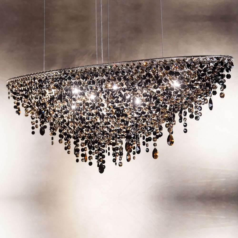 Amazing Chandelier Contemporary Black Oval Crystal Chandelier