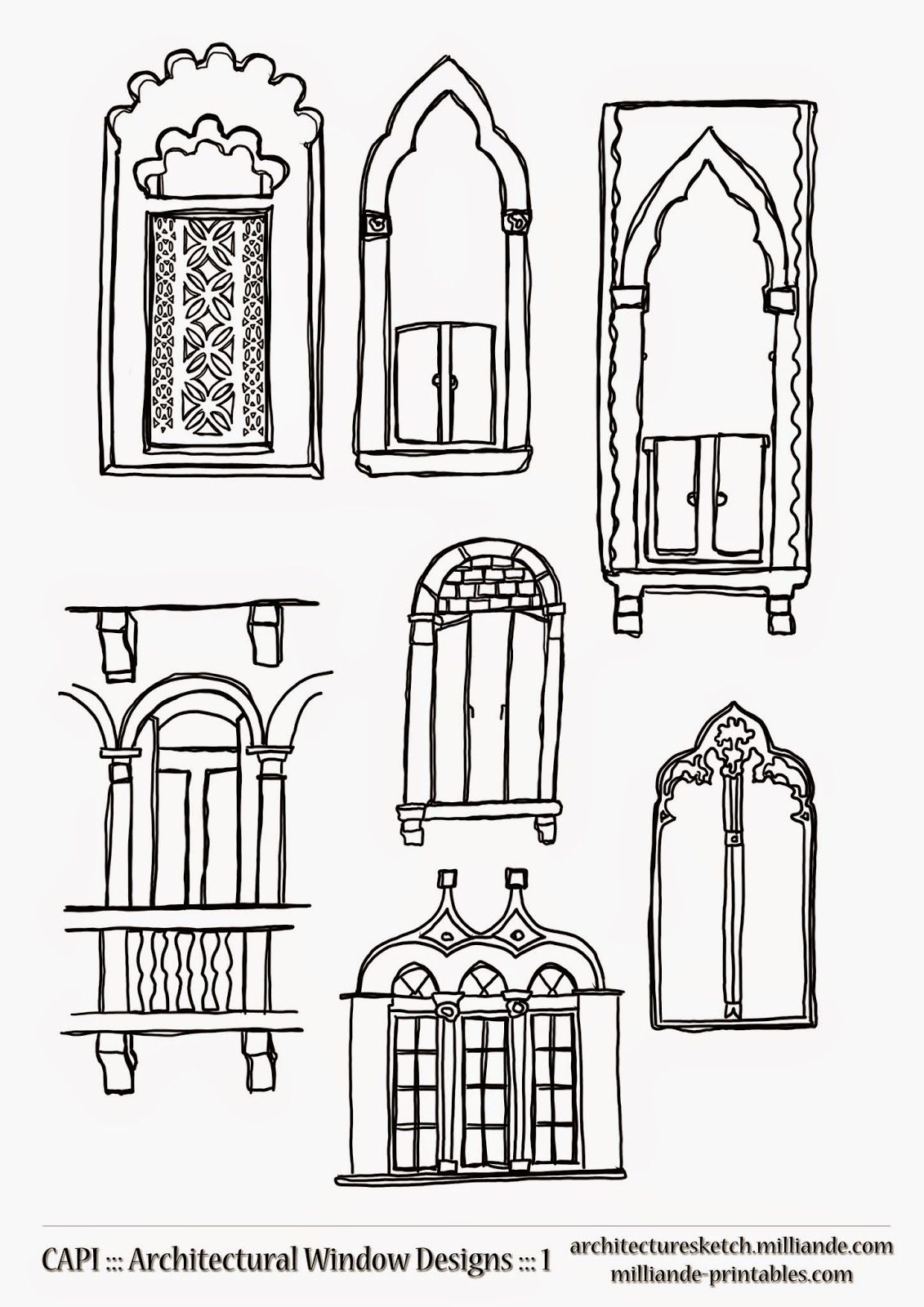 Beautiful Milliandeu0027s Architecture Sketch Book : Architecture Sketch CAPI :::  Oriental Window Designs Windows,