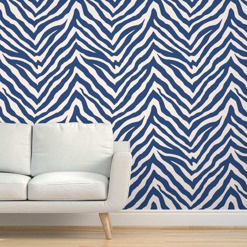 Blue Zebra Stripes Wallpaper Zebra In Blue By Etsy In 2021 Striped Wallpaper Zebra Striped Wallpaper Zebra Print Wallpaper