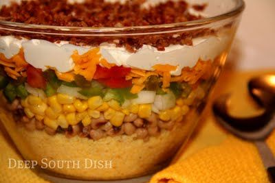 Cornbread Salad. A different version that I'm used to but must try this one with corn and black eyed peas.