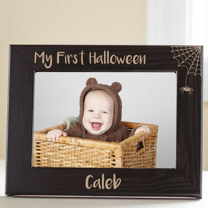 Personalized Babys First Halloween Picture Frame Oak Picture