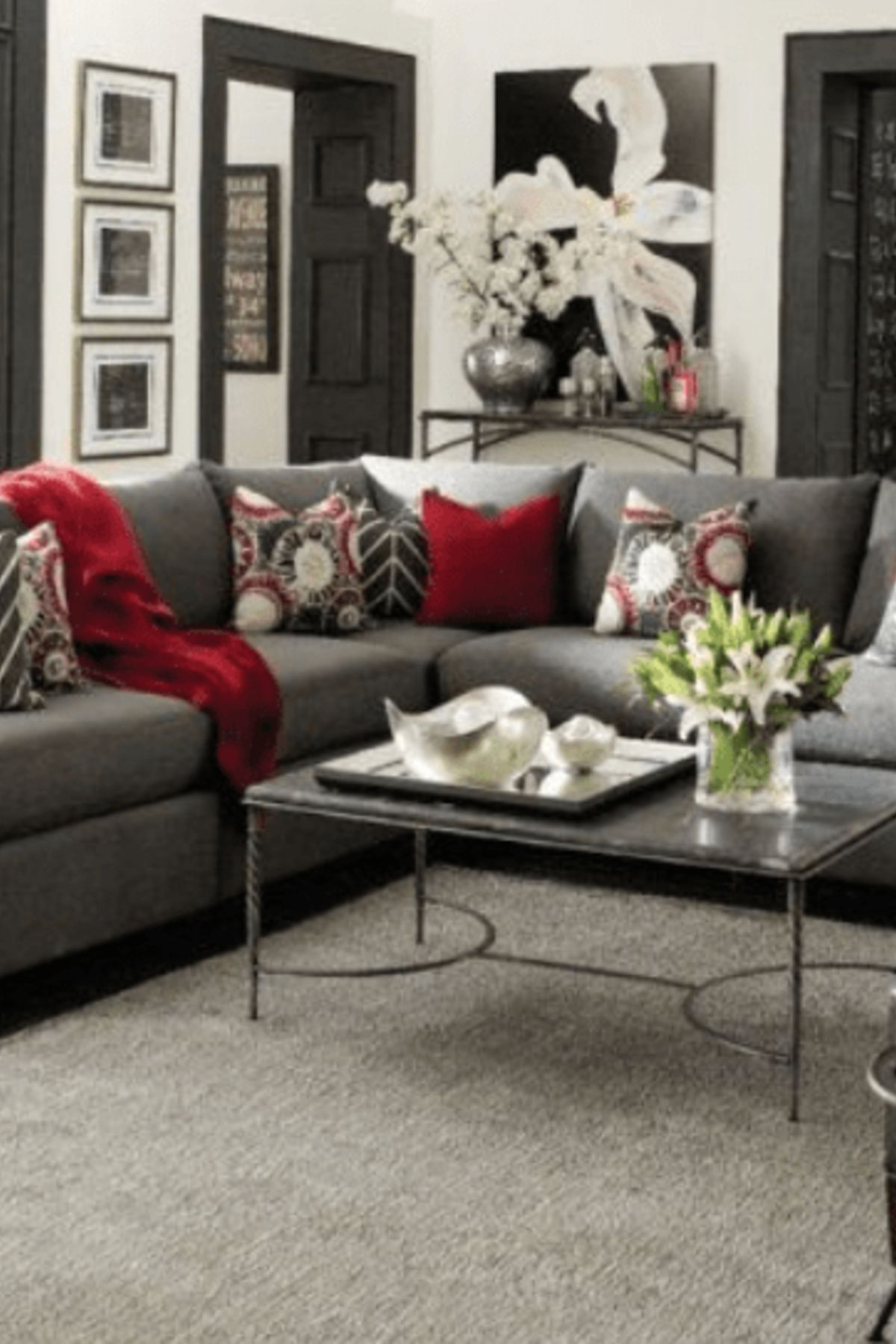 Home Decor Gray Living Room With Red Accent Pillows Light Gray Walls With Dark Grey Trims Grey And Red Living Room Living Room Decor Gray Living Room Red