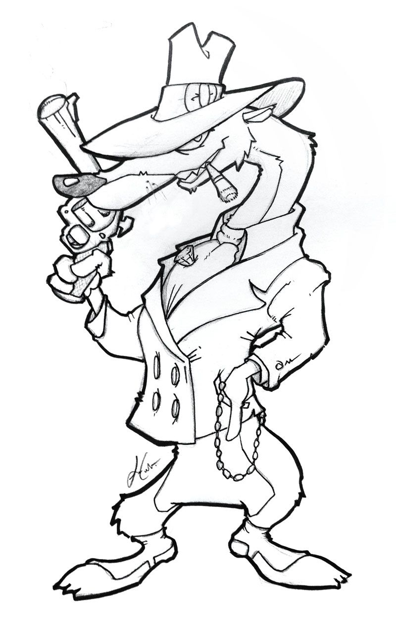"Quick sketch I drew of a Toon Patrol weasel from ""Who Framed Roger ..."