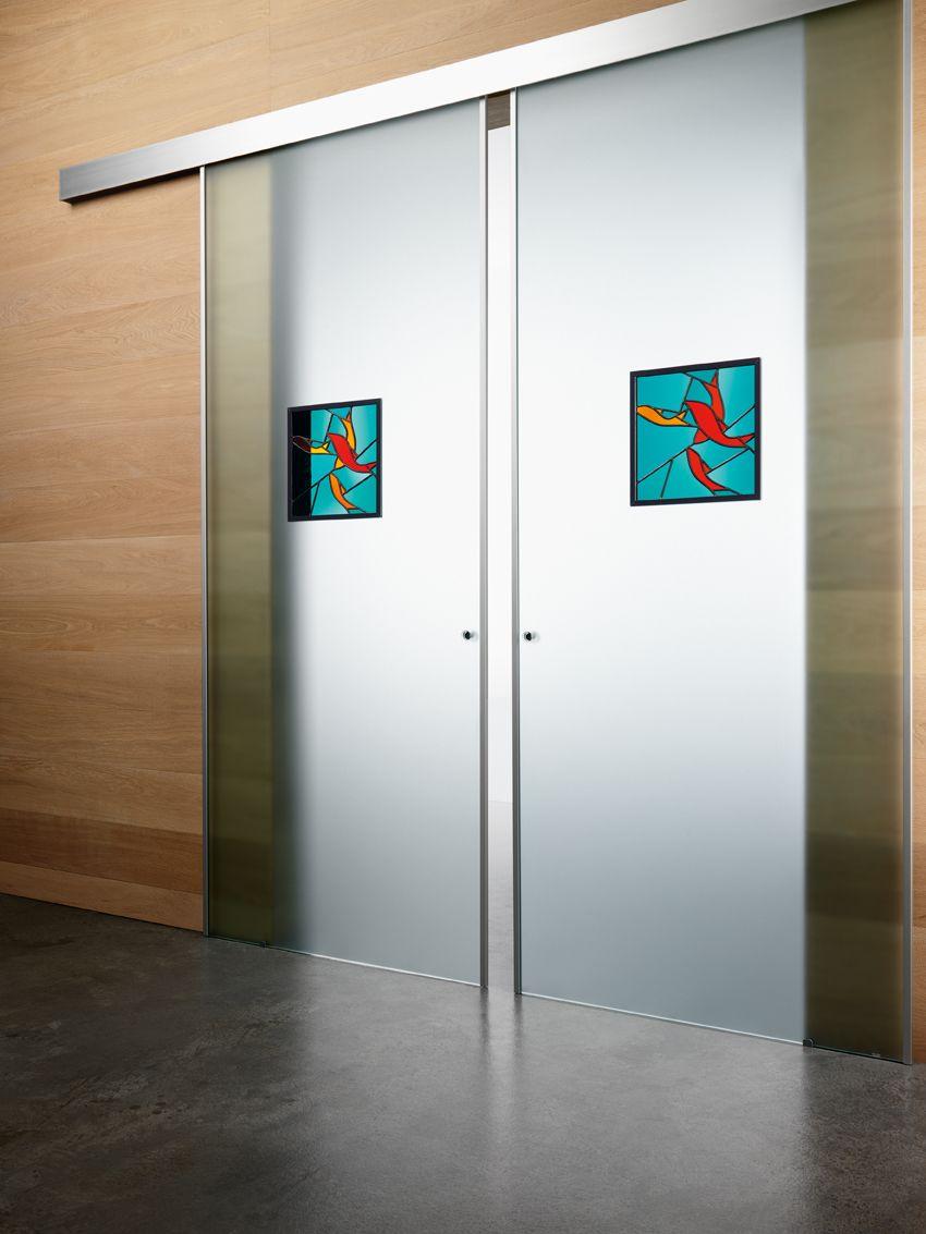 Doppia porta scorrevole esterno muro Classic, linea New Sinea, vetro ...