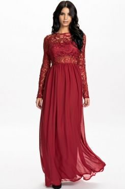Red,Wine Red Long Sleeves Lace Top Open Back Chiffon Ankle Length Maxi Dress,Maxi Dress