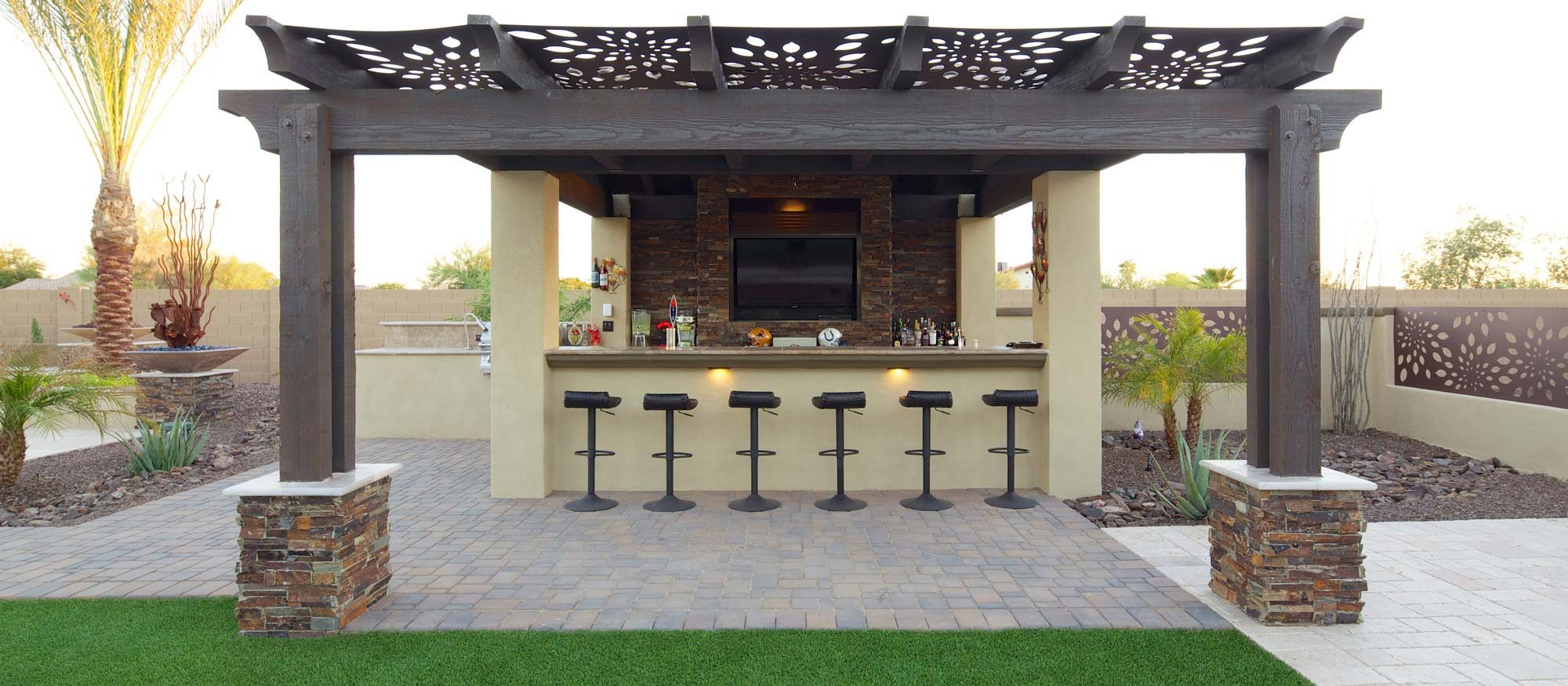 Pergola Outdoor Kitchen BBQ Bar Artificial Grass Link To Pergolas Ramadas Patio Covers