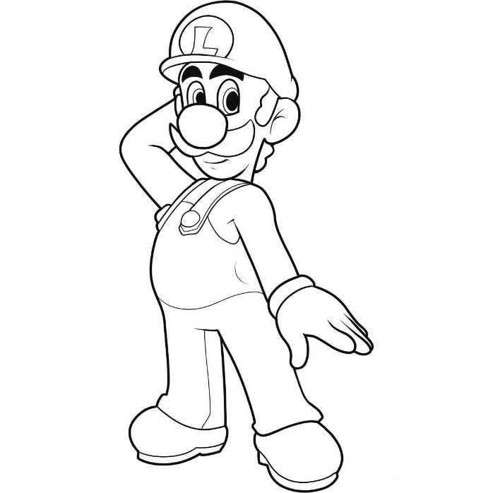 Luigi picture to colour for kids coloring pages easy enough for