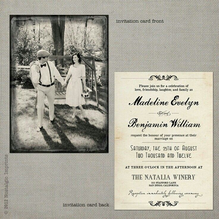 vintage wedding invitation text%0A Vintage wedding postcard invitation