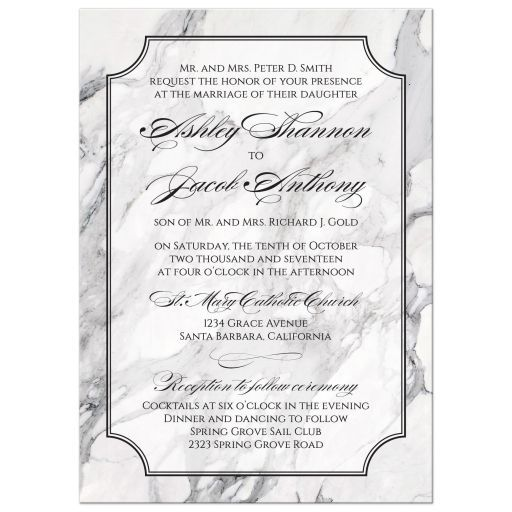 Marble Wedding Invitation Traditional Calligraphy Black and White - gala invitation wording