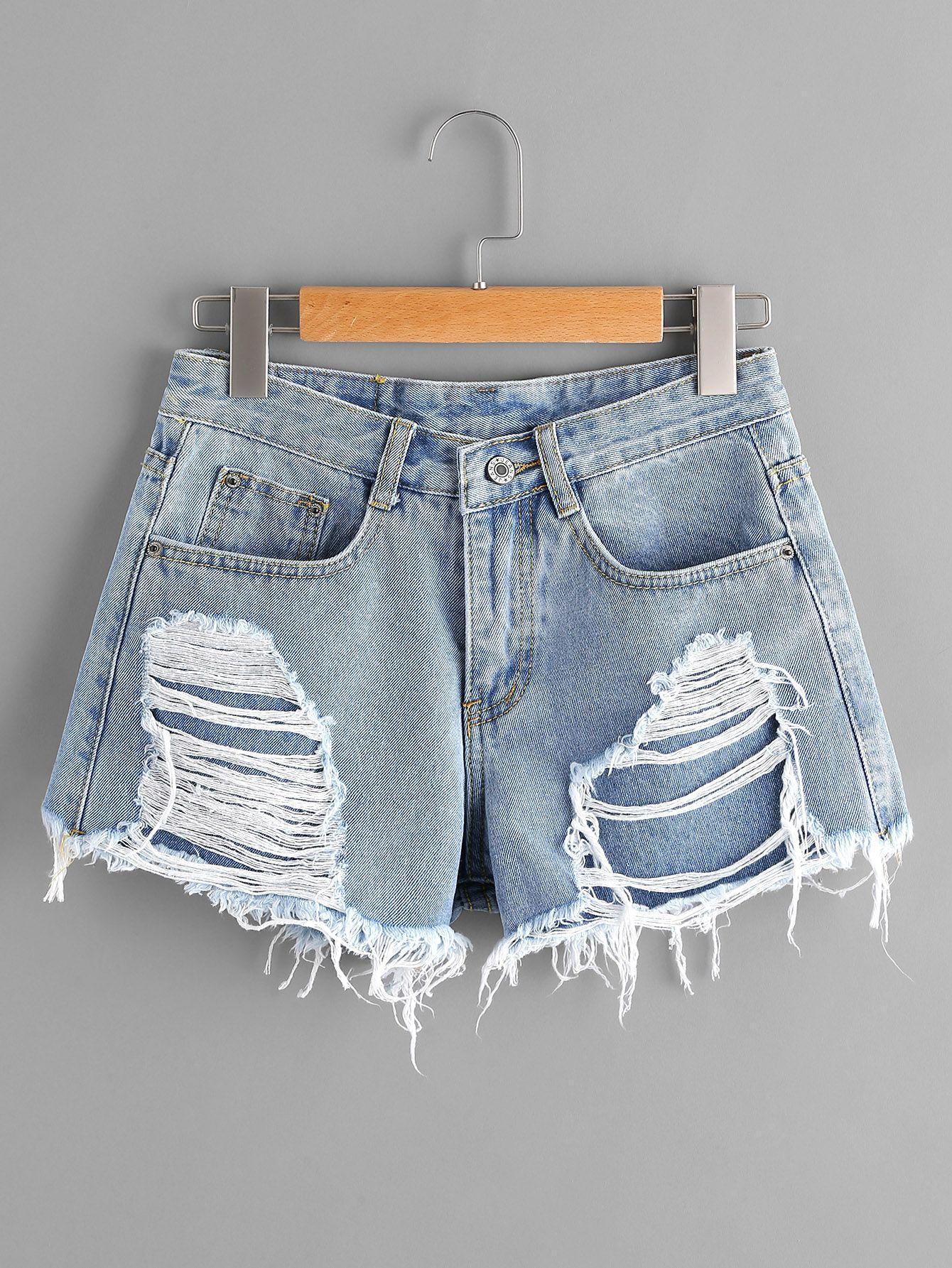 Shop Ripped Frayed Hem Denim Shorts online. SheIn offers Ripped Frayed Hem Denim Shorts & more to fit your fashionable needs.
