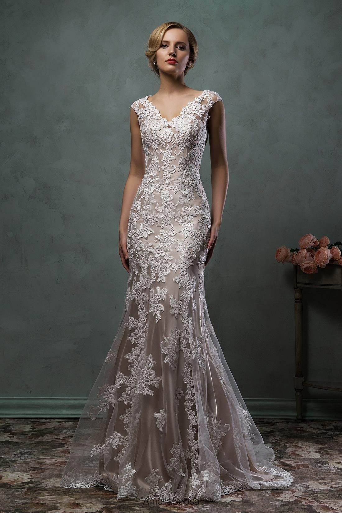 Lace wedding dress amelia sposa wedding dresses with cap