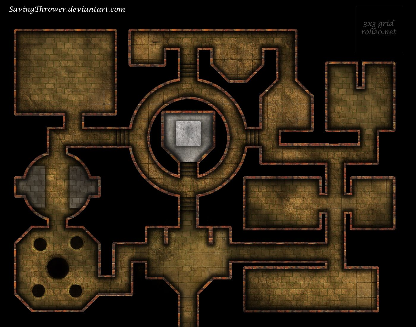 Clean stone dungeon battlemap for DnD / roll20 by