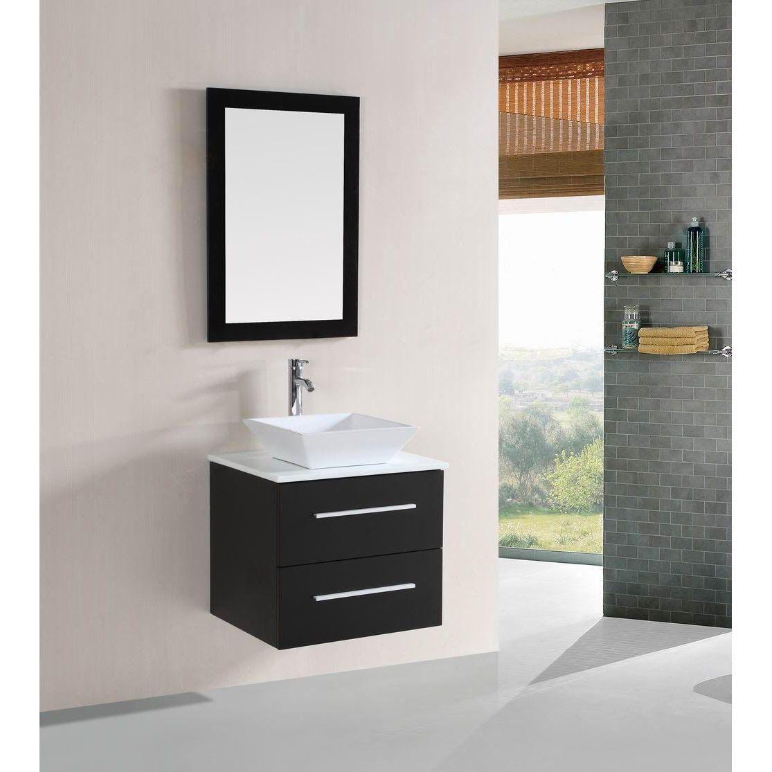 Kokols 24 Bathroom Vanity Set belvedere 24-inch modern espresso floating single sink bathroom