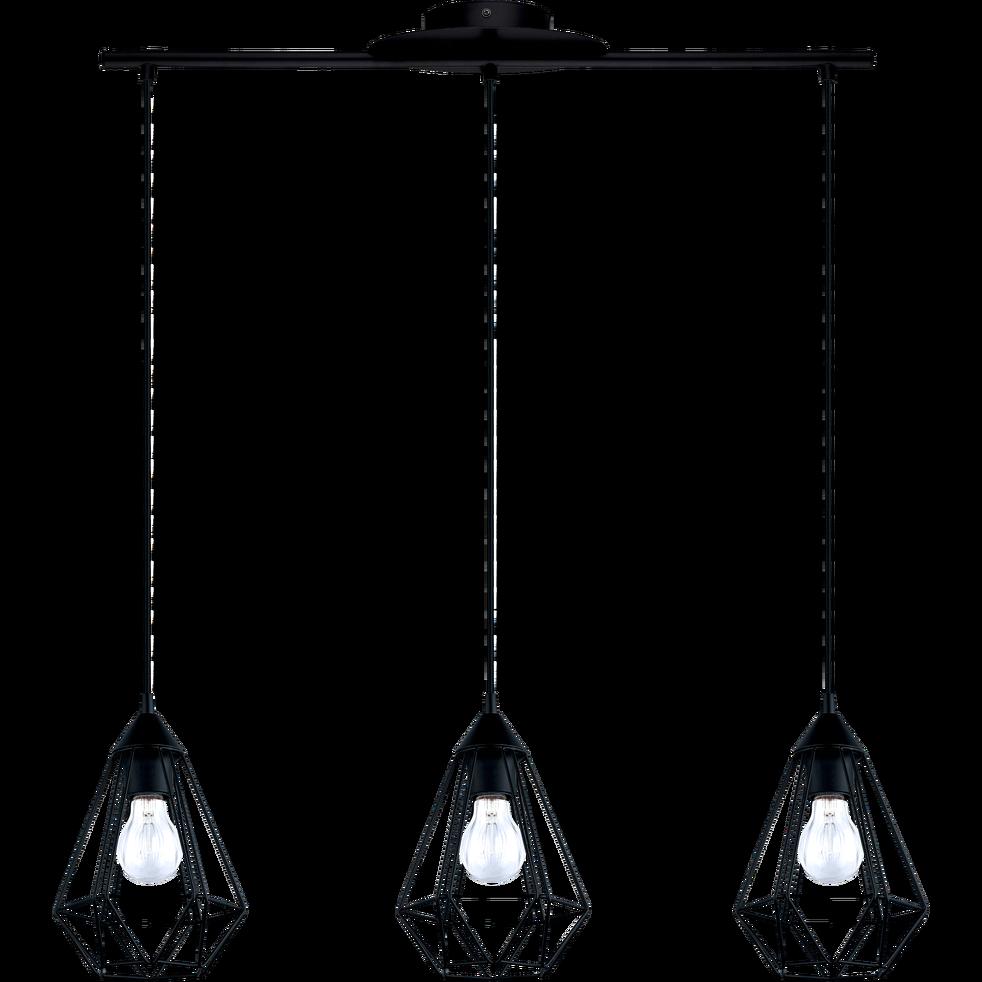 Suspension Géométrique à 3 Lumières En Acier Noir L79cm Tarbes