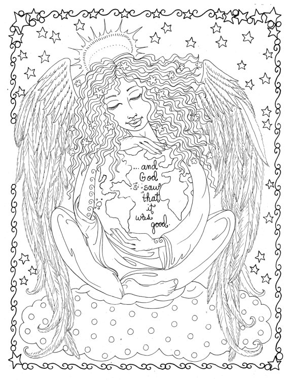 New Coloring Book Guardian Angels Christian Scripture Healing Art
