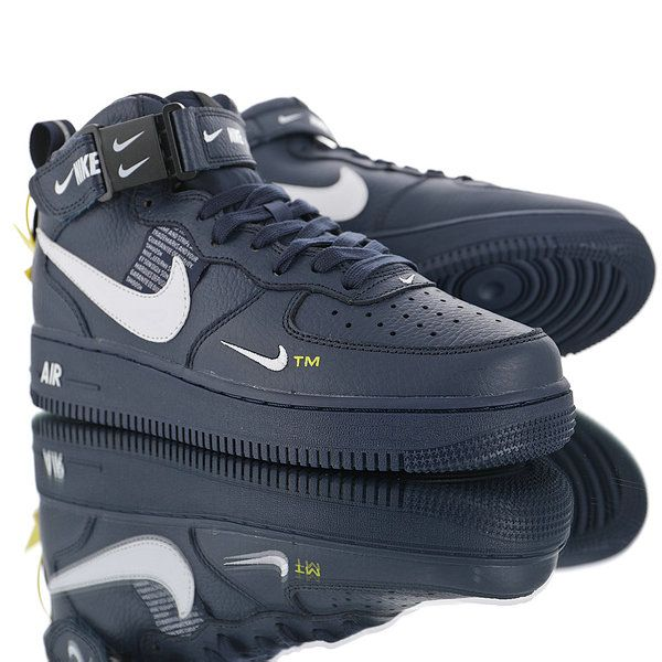 online retailer f4cdc e1e96 Nike Air Force 1 07 Mid Utility Pack Dark blue white double hook 804609-403