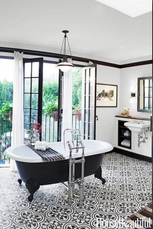 The New Bathroom 5 Top Trends House beautiful, Industrial and Retro - badezimmer fliesen ideen schwarz weiß