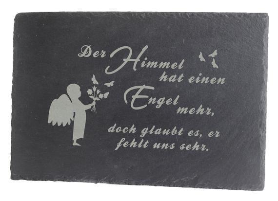 Gedenktafel Grabstein Grabschmuck Grab Deko Schieferplatte mit Trauerspruch Engel für Ihr Haustier od. einen geliebten Menschen 30x20cm Groß #totensonntagzitate