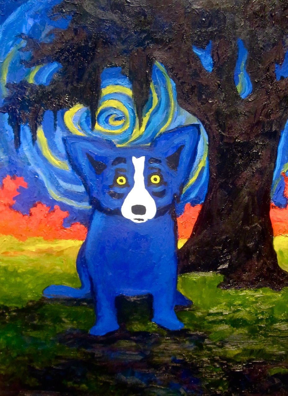 Blue dog art by rodrigue blue dog painting blue