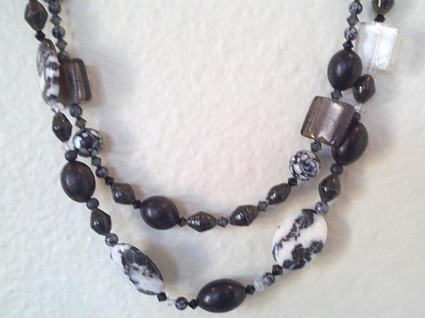 Black Paper Beads, Obsidian & black seed pods