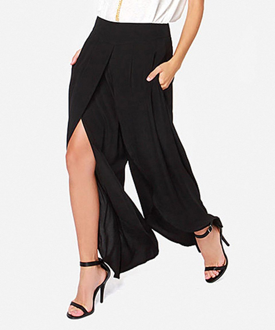 b9e73b7599 Look at this #zulilyfind! HaoYouDuo Black Front-Slit Gaucho Pants by ...