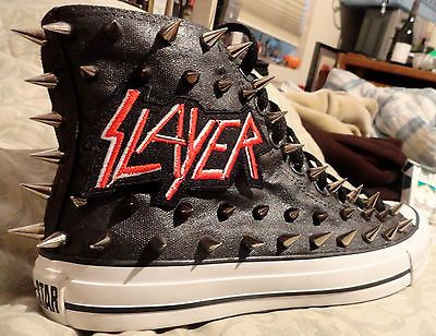 e635ba21ff19 SLAYER Metal Punk CUSTOM STUDDED Converse Chuck Taylor All Star Shoes w   SPIKES
