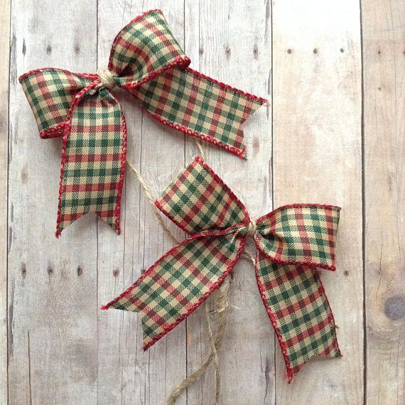Christmas Small Bows Red And Green Gingham Xmas Decorative Small Christmas Trees Decorating Details Handmade
