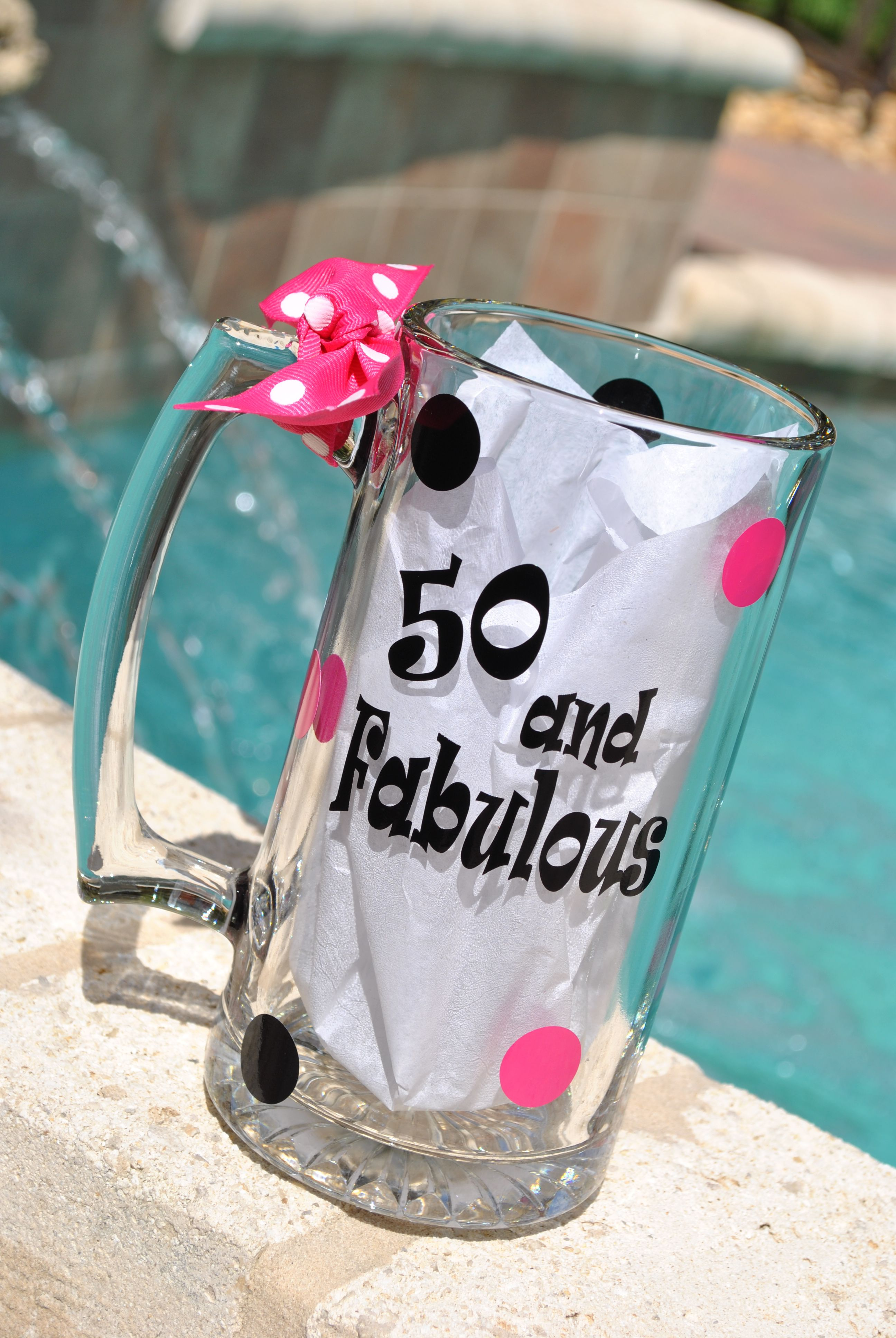 50 and fabulous wine glass or beer mugs are great for the