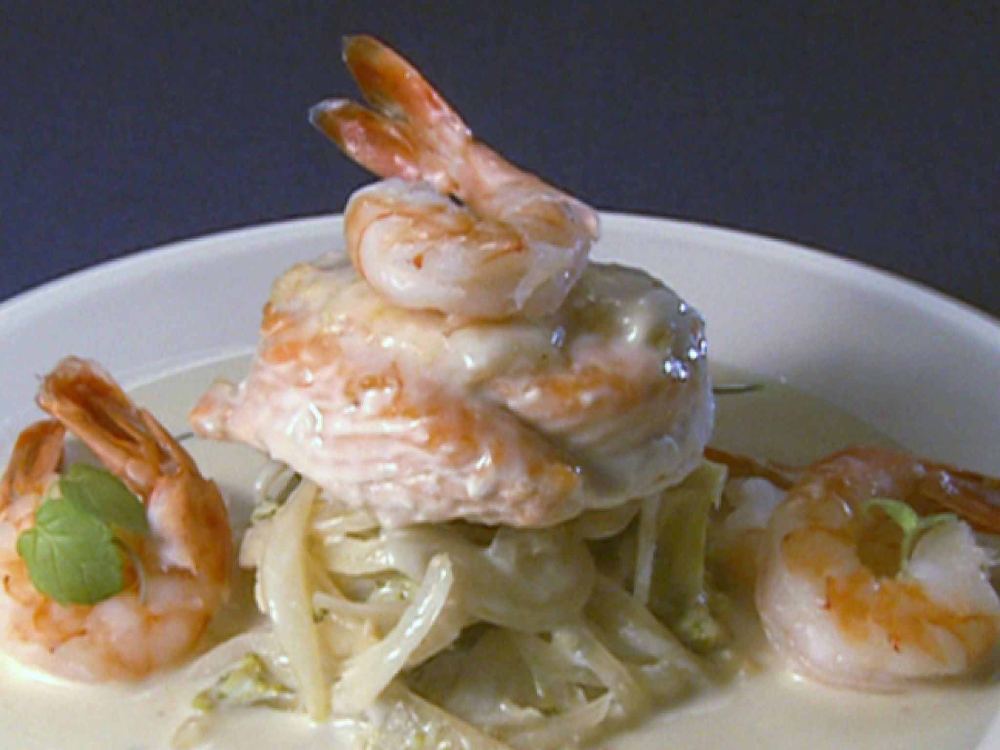 Salmon-Shrimp Spirals recipe from Robert Irvine via Food Network