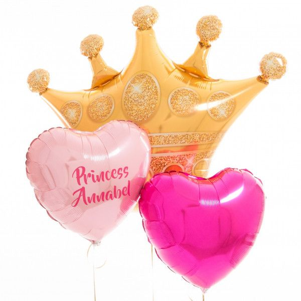 Shop Personalised Inflated Balloons Delivered Next Day Princess Crown Balloon Bunch Fully And For The Perfect Gift