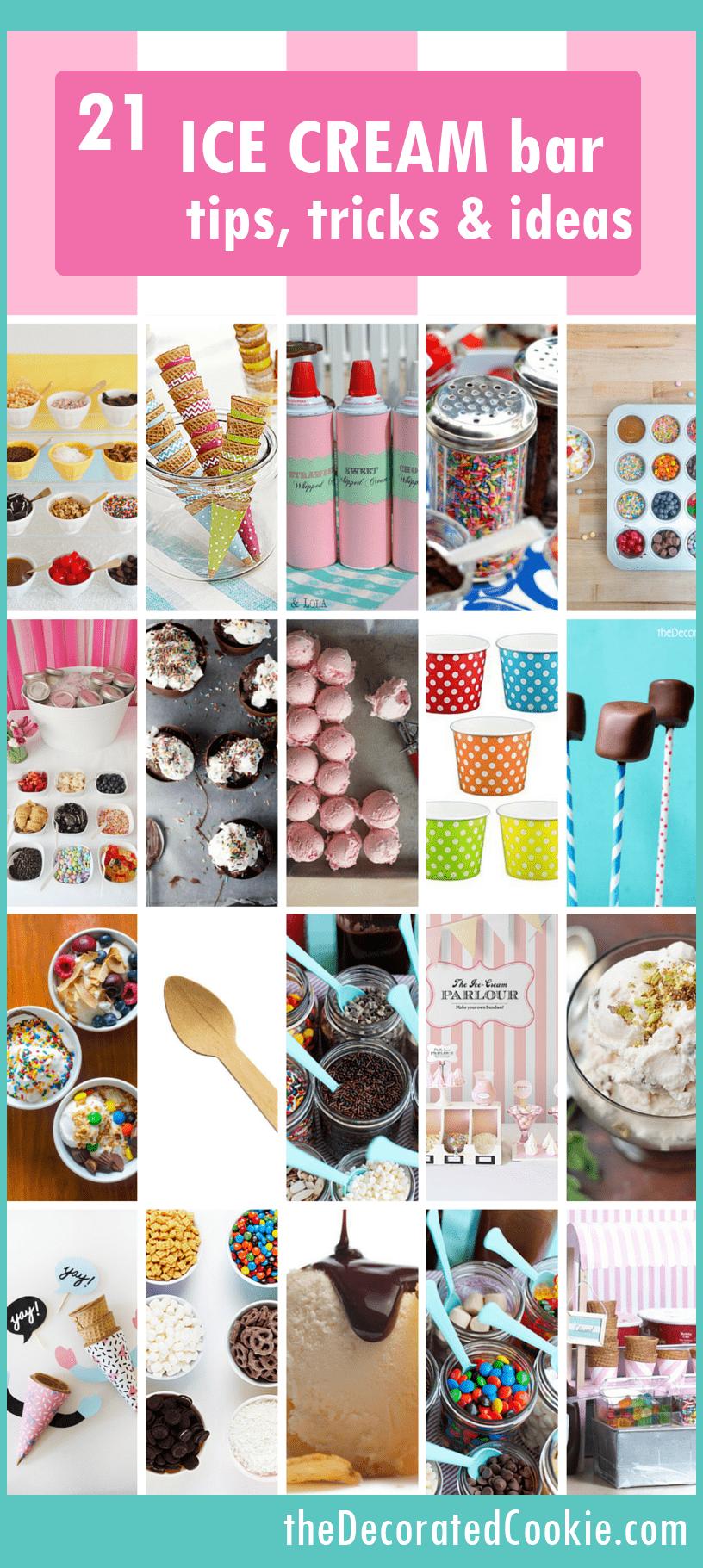 Ice cream sundae bar: Ideas, topping ideas, and recipes: Summer party.