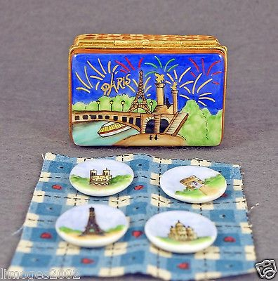 Limoges Box Picnic Basket Eiffel Tower Painting Tablecloth Plates.  sc 1 st  Pinterest & Limoges Box Picnic Basket Eiffel Tower Painting Tablecloth Plates ...