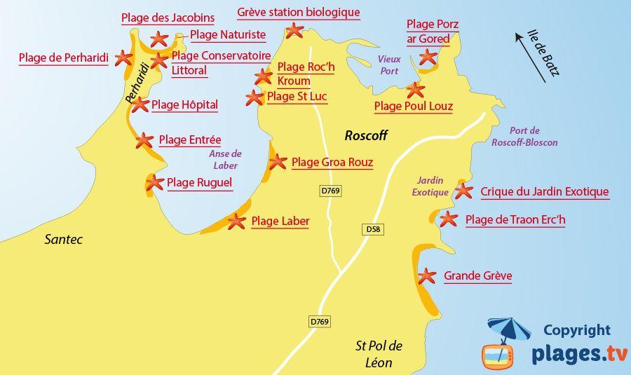Plan Des Plages De Roscoff En Bretagne Bretagne Roscoff Plage