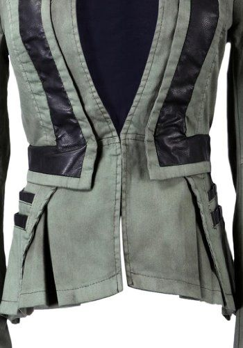 Amazon.com: Lookbookstore Women Denim PU Leather Zip Sleeves Pleated Tuxedo Jacket Blazer: Clothing