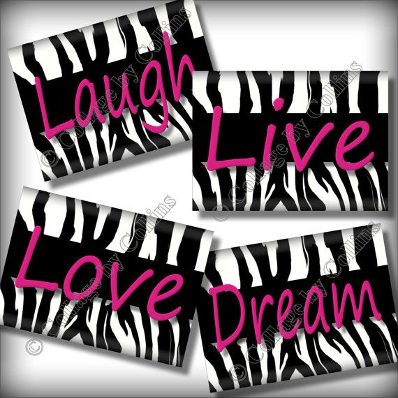 Pink Zebra Print Wall Art Decor Quotes By Collagebycollins