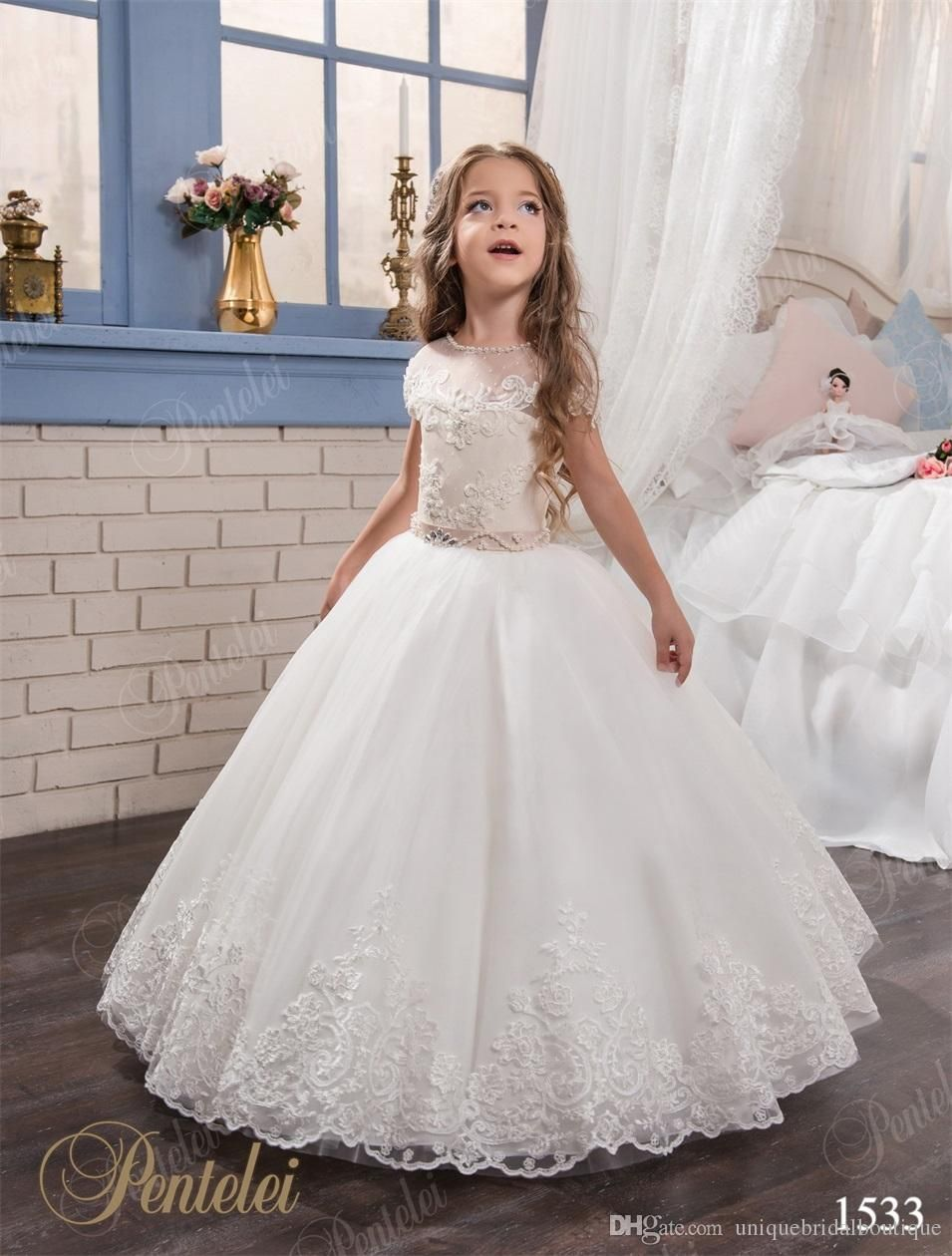 Kids Wedding Dresses With Cap Sleeves And Beaded Sash 2017 Pentelei