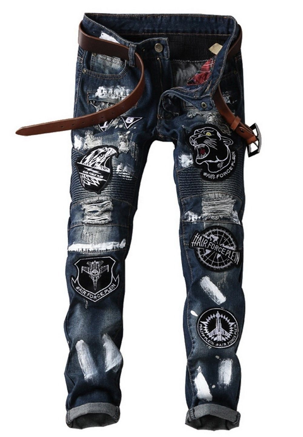 9dfe97ce65aa Men s Straight Slim Fit Pattern Patch Denim Punk Rocker Biker Jeans ...