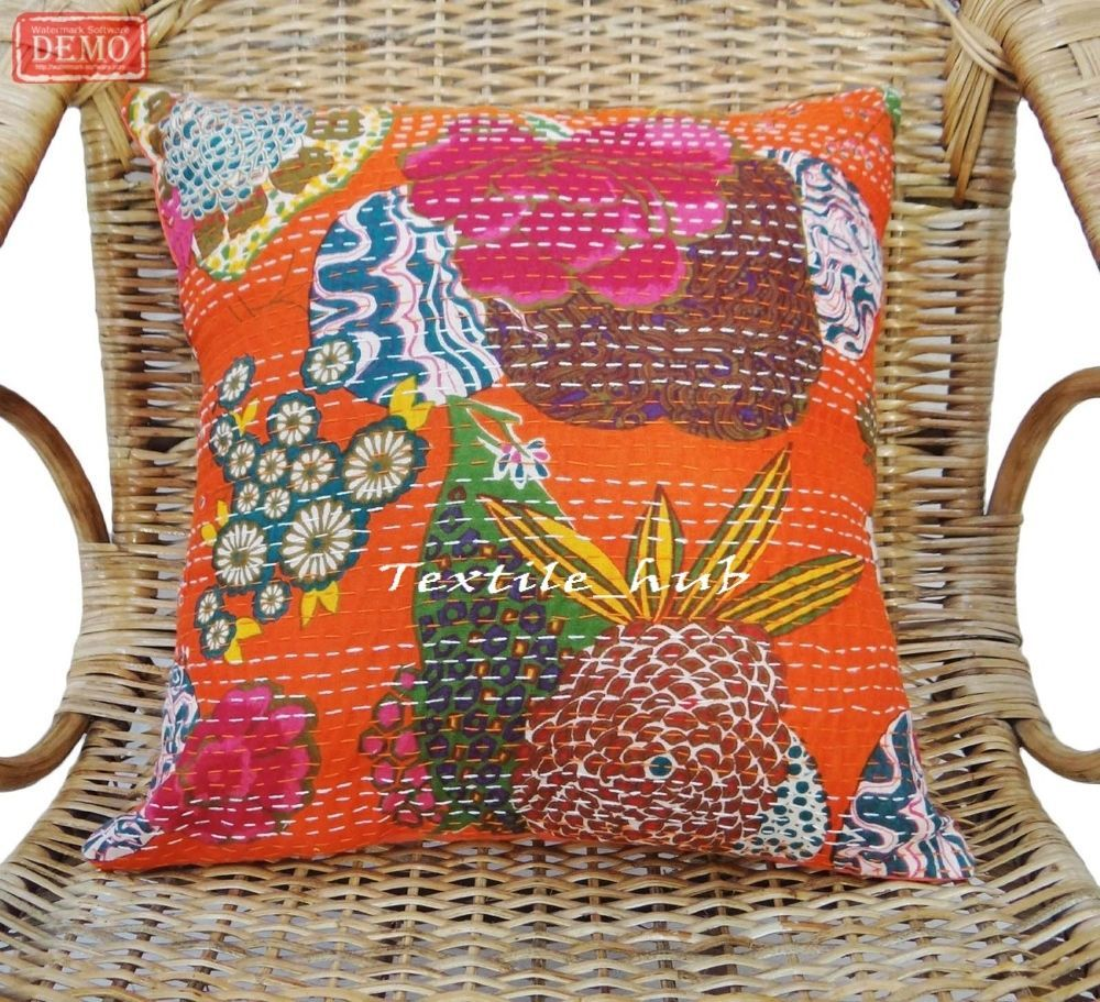 Indian handmade cushion covers set of pillow case kantha thread