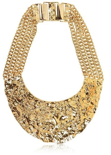 Gold Plated Rock Necklace - Lyst