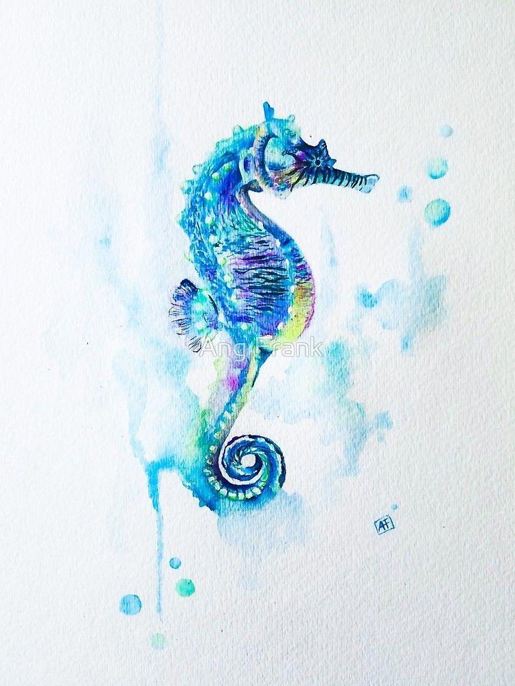 'Watercolor Seahorse' Photographic Print by Ang Frank