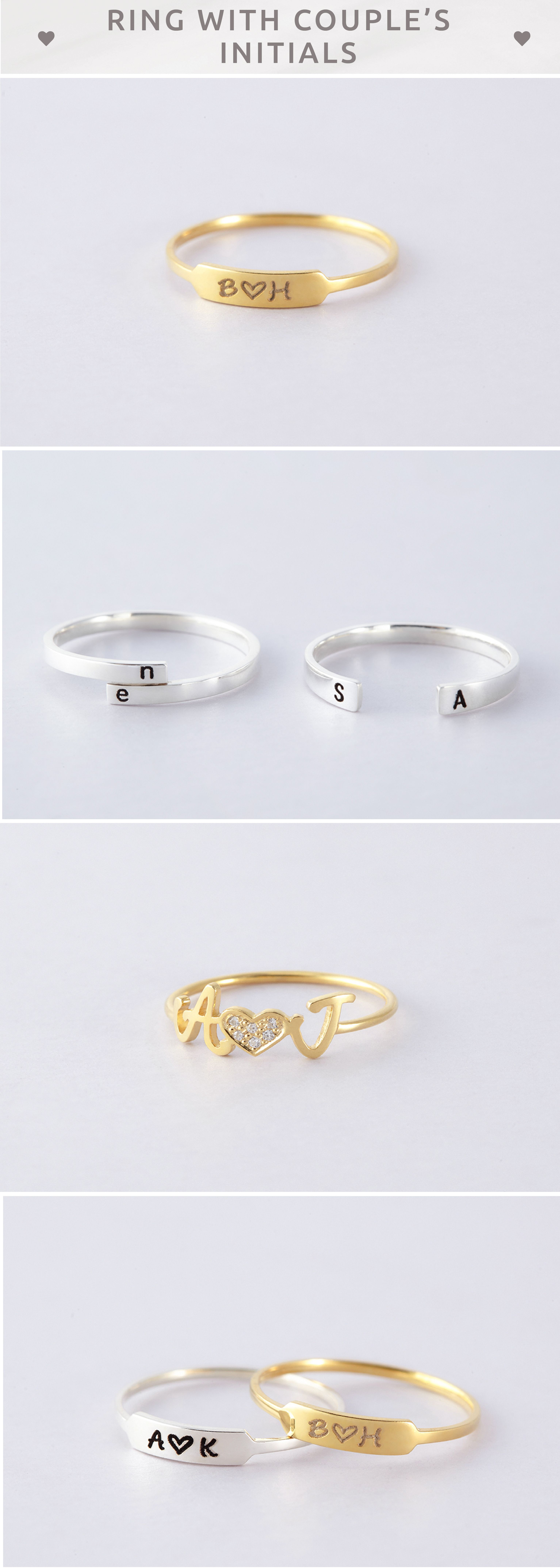 Couples Initial Ring Custom Silver Couples Ring