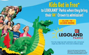 Legoland Kids Get In Free With Burger King Crown And Adult