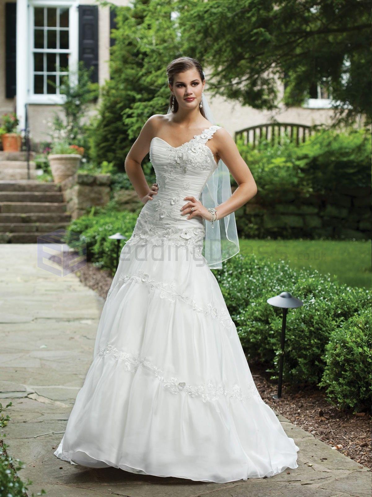 Green and white wedding dress  Ball Gown Organza Detachable Asymmetrical Single Shoulder Bodice