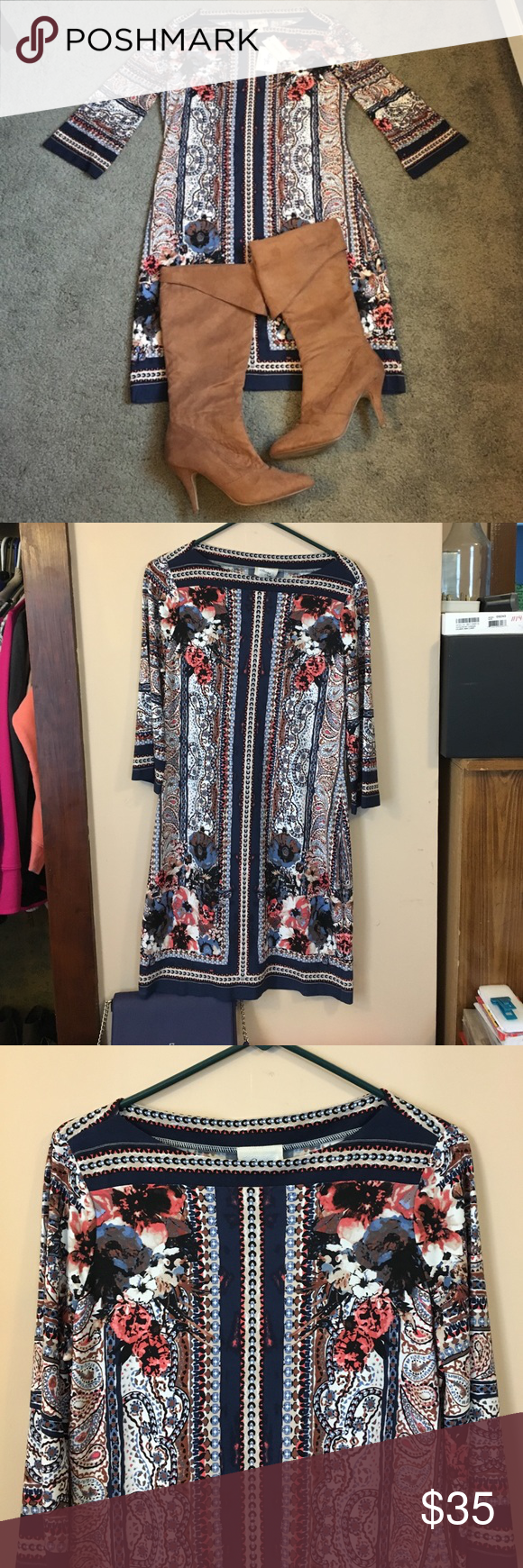 "NWT Sheath Dress by E.C.I Beautiful Navy blue sheath dress with pops of coral and cream. Size 8, NWT, 37.5"" in length, material is stretchy. Originally priced at $135 ECI Dresses Midi"