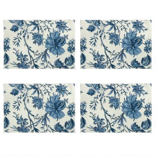 Waverly White Blue Floral Placemats Set Of 4 Floral Placemats Christmas Tree Shop Fabric Placemats