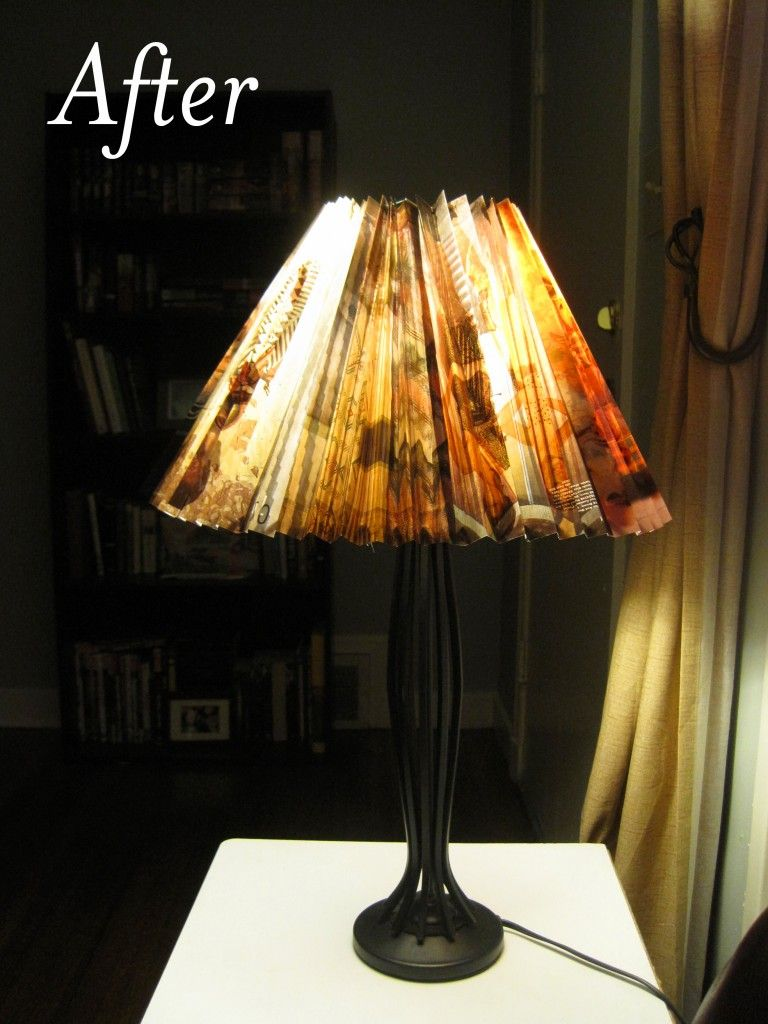 This lampshade was made from magazine pagescredible gotta lamp shade makeover mozeypictures Choice Image