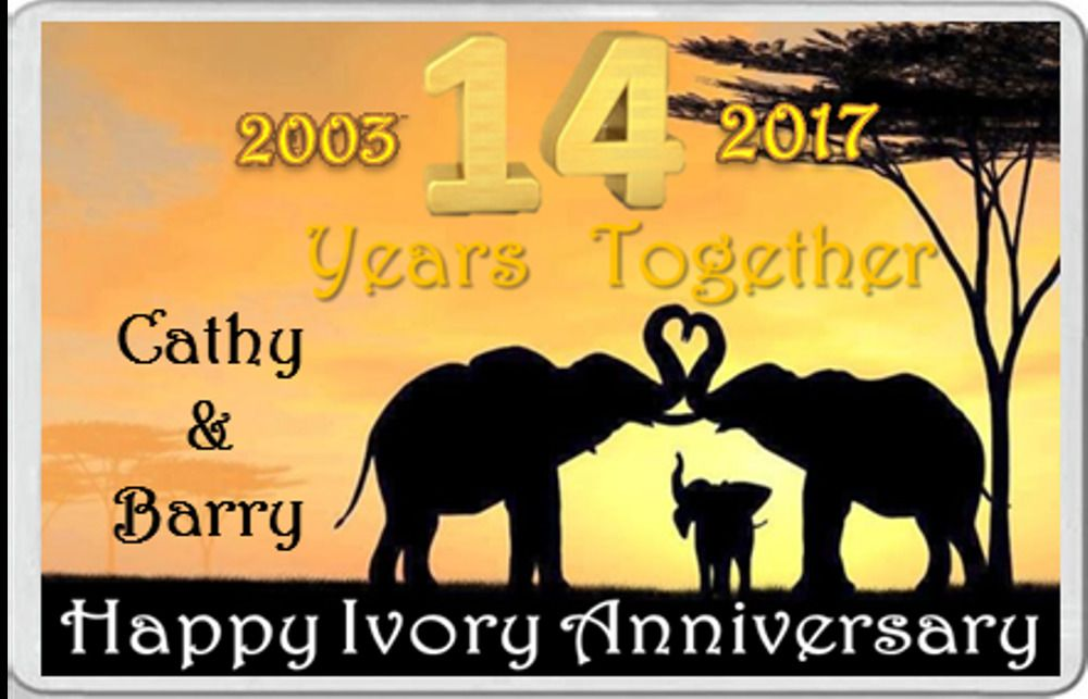 Personalised With The Year Of Marriage Fridge Magnet Ivory Anniversary 14 Years Together