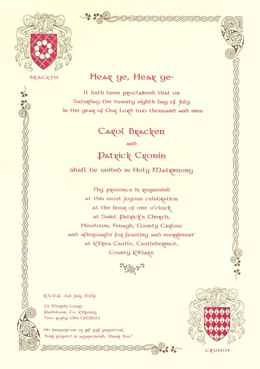 medieval wedding invitations wording - Google Search | wedding ...